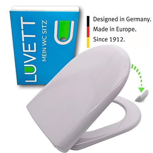 LUVETT WC-Sitz D100 D-Form mit Absenkautomatik SoftClose® & TakeOff® EasyClean Abnahme, Duroplast Toilettendeckel, Farbe:Manhattan Grau
