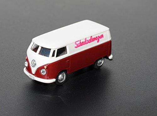 Magnet-VW-Bus SCHNITZELWAGEN/Bulli: T1 Lieferwagen Volkswagen mit Schlager - Label und Magneten