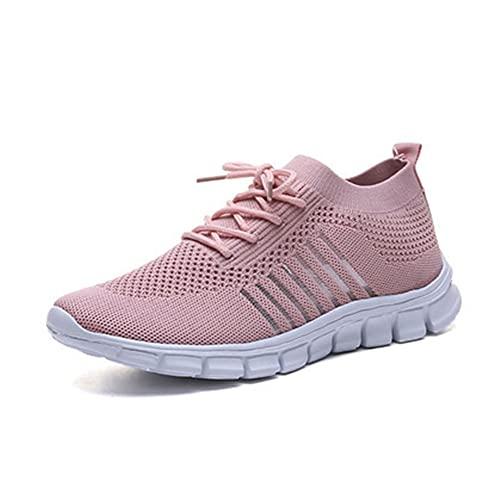 erlingo Zapatos deportivos de mujer de malla transpirable superficie cómoda trotar al aire libre caminata yoga ocio deportes zapatos, Pink, 39.5 EU