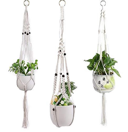 3er Set Baumwollseil Makramee Blumenampel Hängeampel Blumentopf Pflanzen Halter Aufhänger Innen Außen Decken Wanddekoration (C)
