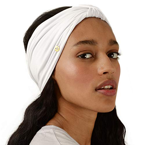 BLOM Original Multi Style Headband. Women Yoga Kundalini Fashion Workout Running Athletic Travel. Wear Wide Turban Knotted. (Bright White)