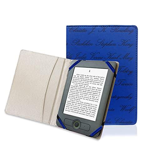 Funda universal de 6 pulgadas, estilo libro de Ereader en relieve, nombre de autor para Kobo pocketbook Sony Kindle de 6 pulgadas, color azul