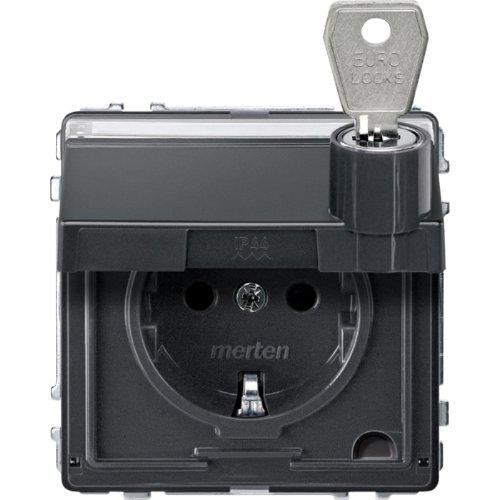 Merten MEG2317-7214, Presa Shuko con coperchio di protezione, spazio per dicitura e serratura con chiave, AQUADESIGN