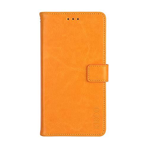 KISCO für Asus Zenfone 3 Deluxe ZS550KL Lederhülle,Leder Flip Wallet Magnetische [Kartensteckplätze][Standfunktion] mit Crazy Horse Textur Hülle für Asus Zenfone 3 Deluxe ZS550KL-Gelb