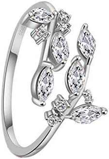 QNNY Branch Women Ring Adjustable S925 Sterling Silver Plated 5A Level Cubic Zirconia Opening product image