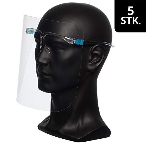JOOULS Gesichtsvisier mit 5 Wechsel-Visieren, Faceshield aus PET, Schutz für Augen Mund und Nase, Gesichtsschild für Brillenträger geeignet