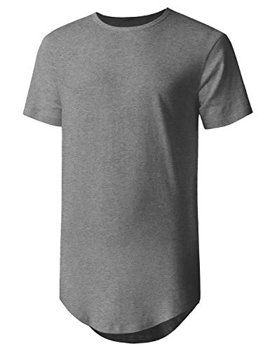 Hat and Beyond Mens Basic Hipster T Shirts Hip Hop Soft Casual Longline Tee (Large, 1hc01_Gray)