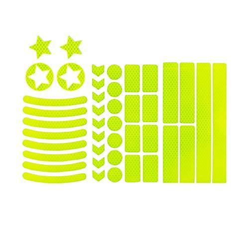 harupink 42 pegatinas reflectoras autoadhesivas reflectantes para bicicleta, para casco, cochecito, bicicleta, coche (amarillo)