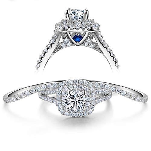 Wuziwen 3pcs Engagement Wedding Ring Set for Women Sterling Silver Cz Created Blue Sapphire Size 7