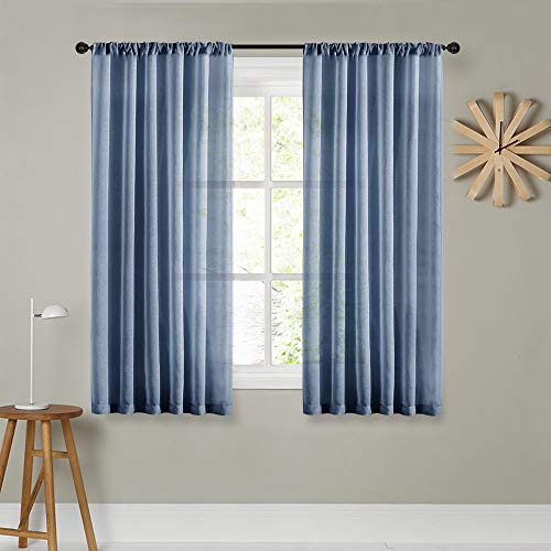 Sheer Curtains 72 inches Long Navy Blue Curtain Sheers Living Room Bedroom Kitchen Transparent Voile Panels Rod Pocket Drapes Window Treatments 2 Panels