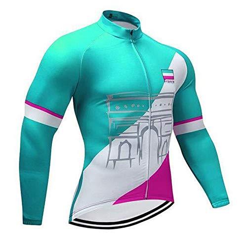 TOPBIKEB fietsshirt met lange mouwen en reflecterende band voor fietsen, herfst en winter