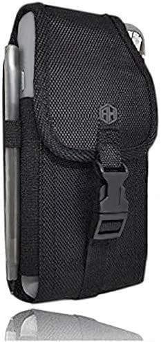 AH Military Grade Cell Phone Carrier Holster Men Cell Phone Belt Holder, for iPhone Holster 11 Pro Max iPhone 6 Plus 7 Plus 8 Plus, Rugged Clip Belt Phone Pouch w/Belt Loop Fit Otterbox or Thick Case
