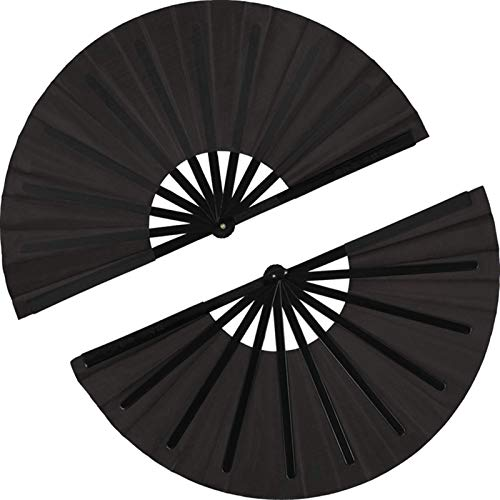 enioysun Abanico Ventilador Plegable Grande Handheld Fan Plegable decoración Negra decoración del hogar (Color : Black)