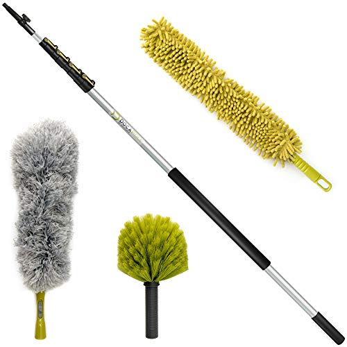 DocaPole 30 Foot High Reach Dusting Kit with 6-24 Foot Extension Pole // Cleaning Kit Includes 3 Dusting Attachments //...