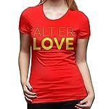 Skam Alt ER Love Skam T Shirt Short-Sleeve Black Women - Camiseta de manga corta para mujer rojo L
