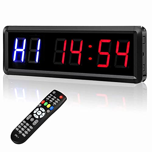 """Seesii Interval Timer Count Down/Up Clock, 1.5"""" Digits LED Gym Timer Stopwatch with Remote for Home Gym Fitness Workouts Garage"""
