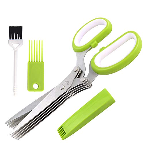 Herb Scissors Set Cool Kitchen Gadgets Gifts Kitchen Shears Scissors with Stainless Steel 5 Blades+Cover+Brush,Rust Proof,Sharp Cutting Garden Herb Garlic Leafy Greens Paper Shredding,Dishwasher Safe