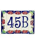 numeri civici in ceramica,numero civico ceramica con soggetto fiori,oggetto in ceramica da esterno colorati a mano nf4 misure:h 15cm,larghezza totale 22 cm