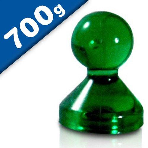 20 x Kegelmagnet/Kegel Pinnwand Magnet Neodym, Acryl - Ø 15 x 20mm - in 7 Farben - Haftkraft: 700g (bis zu 20 Blatt Papier DIN A4) - für Pinnwand, Kühlschrank, Whiteboard, Farbe:grün