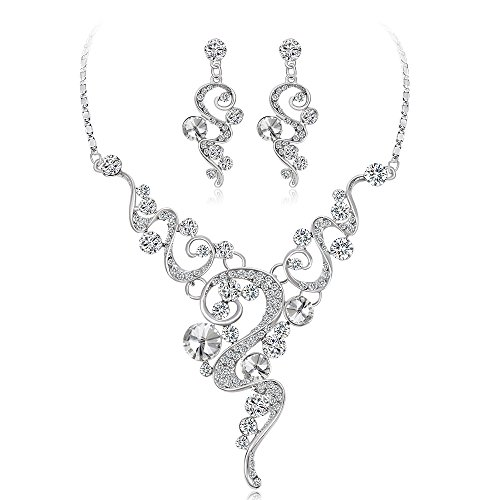 Ecloud Shop Dulce Hueco Nupcial joyería Moda Boda Cena Fiesta aleación Collar de Diamantes Pendientes