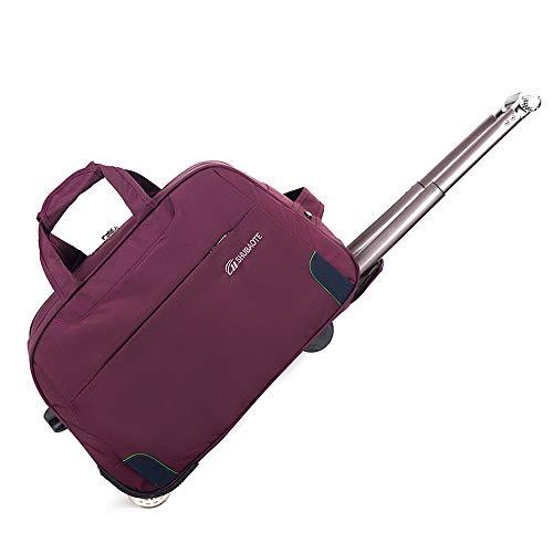 LHY EQUIPMENaT Trolley Star Bag, Gran Capacidad, Bolsa De Viaje con Ruedas, Mochila Casual para Exteriores, Impermeable, Tela Oxford,Púrpura,Big