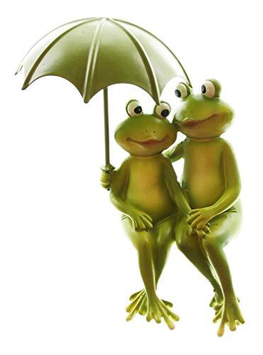 Kantensitzer Froschpärchen mit Metallschirm Kantenhocker Froschpaar Froschfigur Dekofrosch Froschdekofigur Gartenfigur Frosch