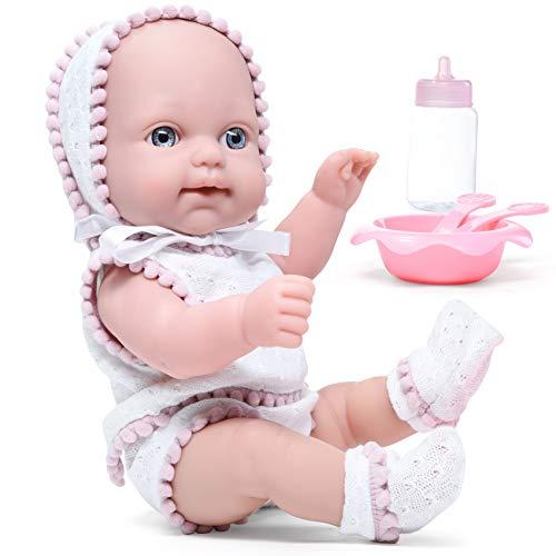 Litti Pritti Juego de 10 muñecos de bebé realistas con biberón, juego de alimentación y atuendo, muñecas de bebé para niñas de 2 años y más es un gran regalo