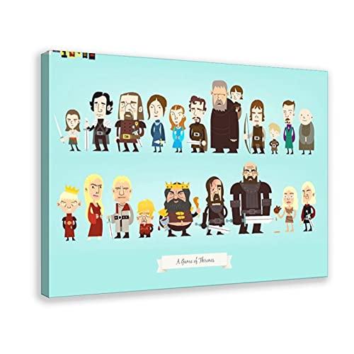 Póster de dibujos animados de Game of Thrones Temporada 1 Personajes 8 Lienzo Decoración de Dormitorio Deportes Paisaje Oficina Decoración Marco de Regalo 60 x 90 cm