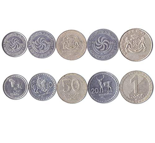 Hobby of Kings Different Coins - Old, Collectible Georgian (Sakartvelo) Foreign Currency for Collecting Book - Unique, Commemorative World Money Sets - Gifts for Collectors - Collection of 5