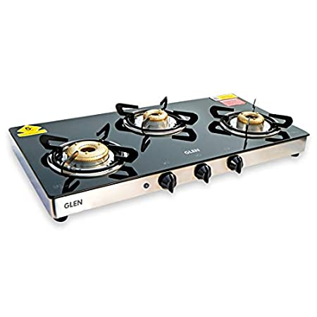 GLEN 3 Burner Glass Gas Top Auto Ignition Gas Stove