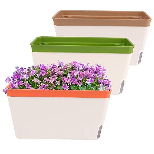OurWarm 3 macetas con sistema de riego, 27 cm, grandes jardineras con sistema de riego, macetas...