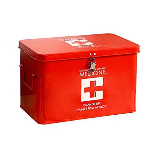 KKYY Medicine Box Present Time BoîTe De Rangement Pour MéDicaments En Rouge Et Blanc Avec Croix, Grande BoîTe Verrouillable HygiéNique Pour La SéCurité Des Aliments, Des MéDicaments Et Du Domicile