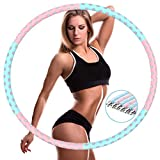 Mljlry Hula Hoop for Adults, Weighted Fitness Hula Hoops 1-5kg - 6 Section Detachable 94cm Exercise Hoola Hoop with Soft Foam for Fitness and weight lose (Blue+Pink)