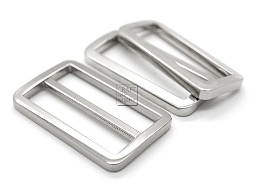 CRAFTMEmore 1SET Silver FLAT Metal Purse Slider and Loops 1PC Slide Buckle with 2PCS Rectangular Rings Leather Craft (1 1/2 Inches)