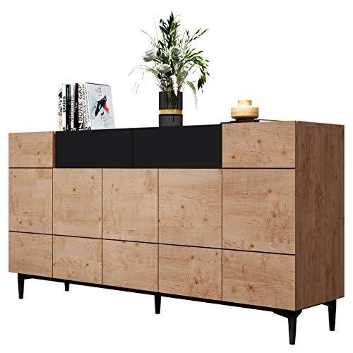 Newfurn Kommode Schwarz Wildeiche Sideboard Vintage Industrial - 180x90x42 cm (BxHxT) - Highboard Anrichte - [Nizza.Three] Wohnzimmer Schlafzimmer Flur Esszimmer