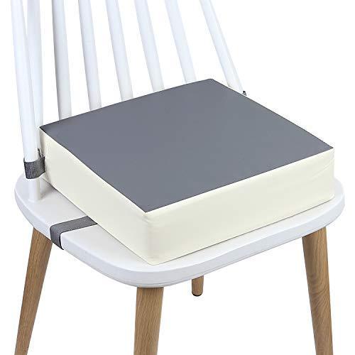 Sitzerhöhung Stuhl, AOIEORD PU Waschbar 2 Gurte Sicherheitsschnalle Sitzerhöhung Kinder für Esstisch, Tragbares Boostersitze (Grau + Beige)