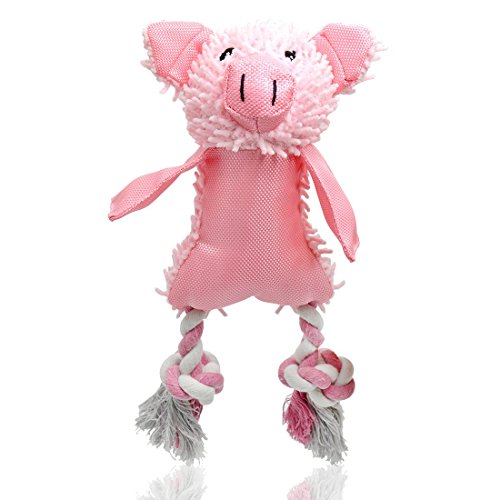 UOLIWO Squeaky Pig Toys for Dogs, Durable Puppy Squeaky Dog Toys Stuffed Animal Plush and Oxford Dog Chew Toy with Rope Legs and 3 Squeakers for Small and Medium Dogs