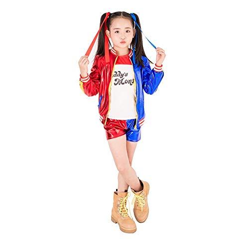 OPM Harley Quinn Kostüm Suicide Squad für Kinder Mädchen Kinder, Halloween Phantasie Kleid T-Shirt Jacke Shorts Handschuhe 4PCS Set (130)