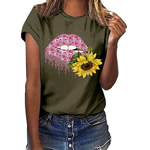 Women's Casual Print Crewne T-Shirt Long Sleeve Tunic Top Sweatshirtr Shirtr Tee T-Shirt Youmore