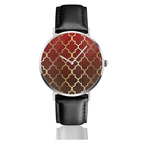 Reloj de cuero rojo oscuro y marrón mezcla oro quatrefoil unisex clásico casual moda reloj de cuarzo reloj de acero inoxidable con correa de cuero
