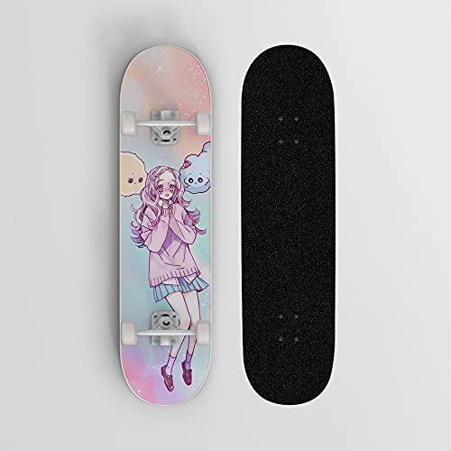 One Piece Charlotte Linlin Big Mamá Campus Rainbow Anime Skateboard, Mini Cruiser, Monopatín de cubierta de arce de 7 capas, Rodamiento de carga 100 kg, Principiante Scooter de calle, Regalo de vacaci
