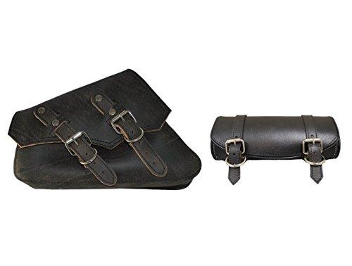 La Rosa Design 04-UP Harley Sportster/Nightster Vintage Style Left Saddle Bag and Tool Bag Combo - Rustic Black