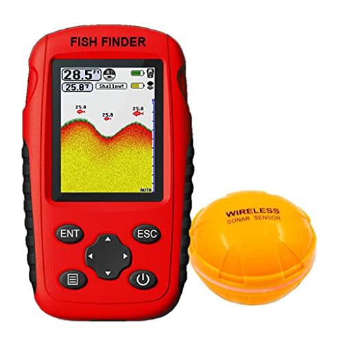 XXJIC Finder de Profundidad inalámbrica portátil, Bluetooth Sonar Echo Sounder Fishing Finder 164 FT Deeper Fish Fish Finder Probe Batería de Litio Trabaje con aplicación