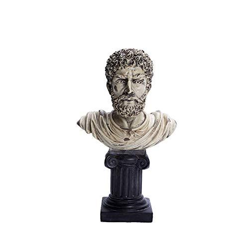 IUYJVR Escultura Griega Antigua, Busto de filósofo, Estatua de Busto Retro Griego, artesanía de Resina de Escritorio, Decoraciones para el hogar