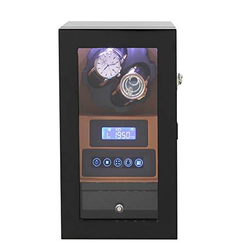 Yuefensu Avvolgitore Orologio Elettrico Meccanico Automatico Watch Winder Box a Batteria o Adattatore AC con 2 posti Winding (Color : Brown, Size : One Size)