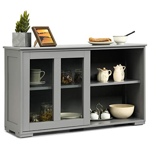 Costzon Kitchen Storage Sideboard, Antique Stackable Cabinet for Home Cupboard Buffet Dining Room (Gray Sideboard with Sliding Door Window)