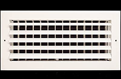 "12"" x 6"" - 1-Way Air Vent - Adjustable Aluminum Curved Blades - Maximum Air Flow - HVAC Grille [Outer Dimensions: 14"" Wide x 8"" Height]"