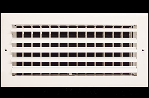 12' x 6' - 1-Way Air Vent - Adjustable Aluminum Curved Blades - Maximum Air Flow - HVAC Grille [Outer Dimensions: 14' Wide x 8' Height]