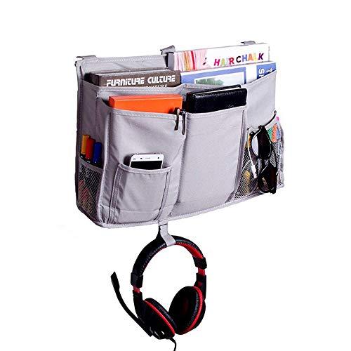 Organizador de noche con 3 hebillas de Pom para teléfono, revistas, accesorios y mando a distancia, para dormitorio, litera, cama de hospital, cama de bebé, apartamento, color gris ✅
