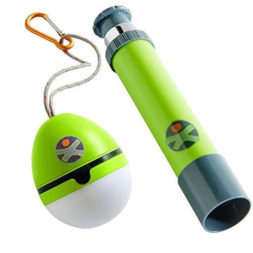 HABA Terra Kids Fernrohr und Zelttaschenlampe Kinderfernrohr Zeltlampe Baumhaus Camping Zelten Taschenlampe grün